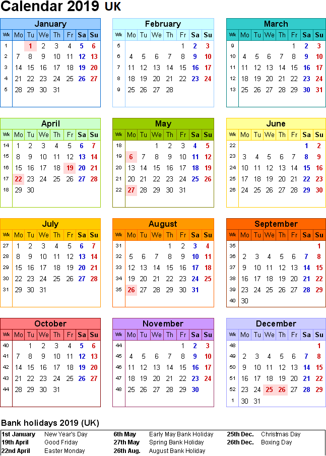free uk 2019 calendar pdf excel word templates