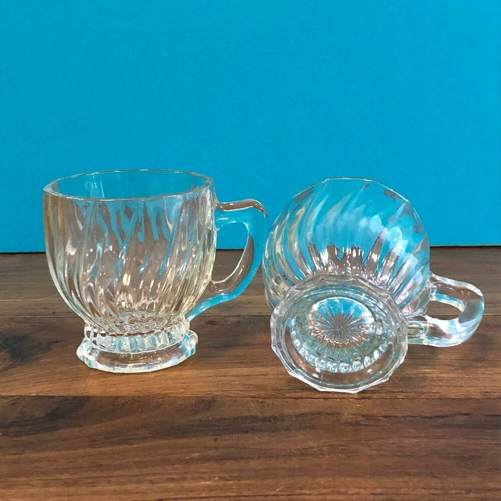 Vintage Clear Glass Coffee Mugs Cups Set 4 Starburst