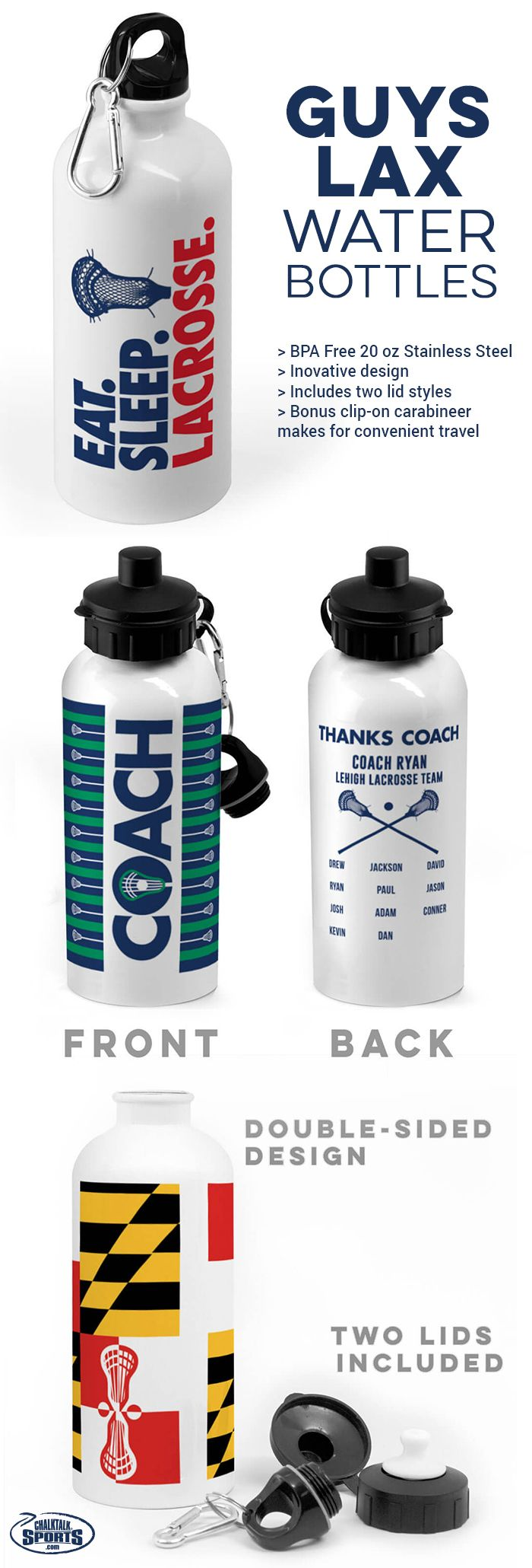 Our guys lacrosse water bottles make great gifts for players, parents and coaches! Choose from dozens of designs, colors, and personalization options!