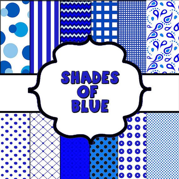 Digital Paper  Shades of Bright Blue by BunkarooDesigns on Etsy, $3.00