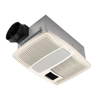 Broan Qt Series Very Quiet 110 Cfm Ceiling Bathroom Exhaust Fan With Light And Heater Qtx110hl Bathroom Fan Bath Fan Fan Light