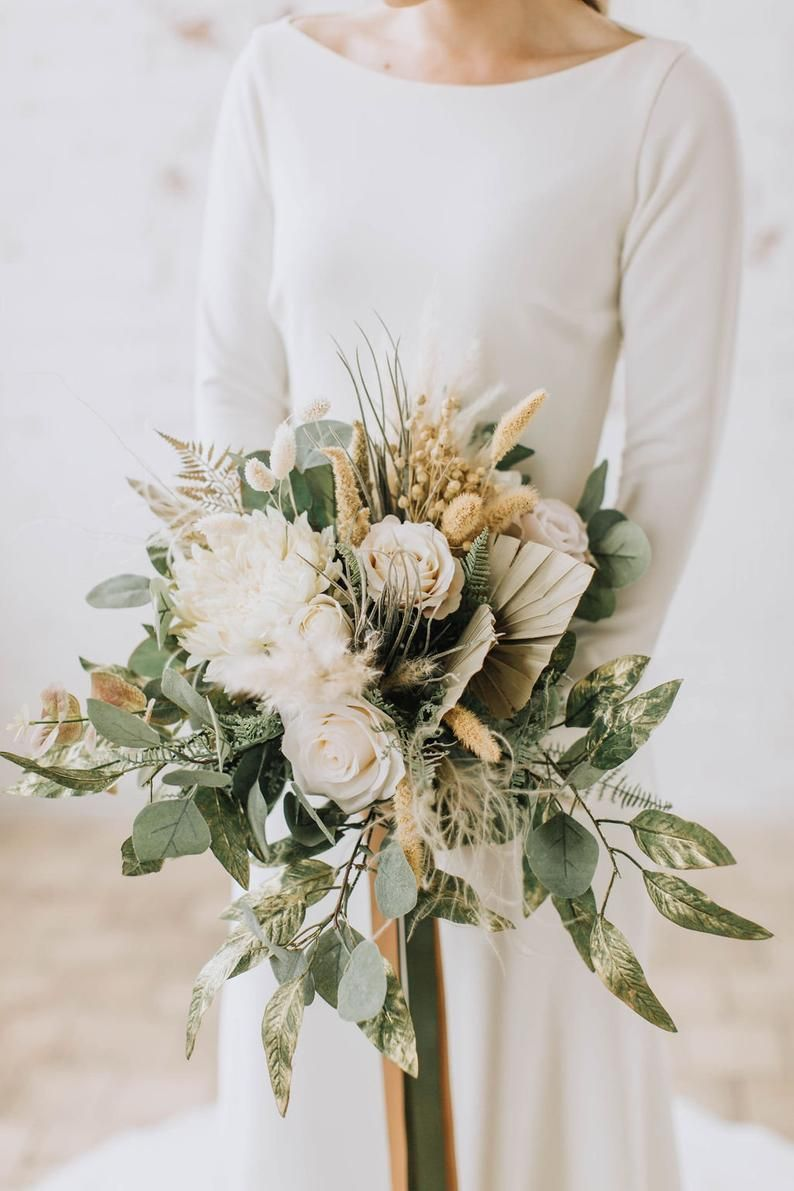Pin By Love Blooms On Flowers And Plants Gold Wedding Bouquets Large Wedding Bouquet Boho Wedding Flowers