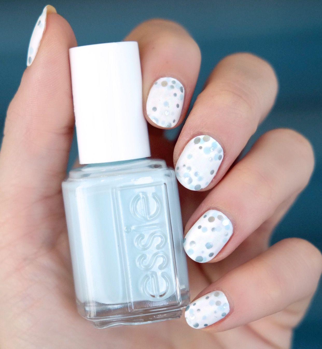 Glam nail art. - essie | Dotting tool, Metallic nails and Top coat