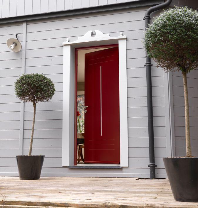 Porte du0027entrée rouge en aluminium, gamme Minérale, modèle Jade