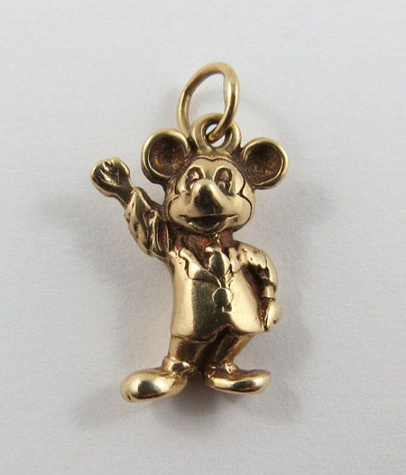 Mickey Mouse 10 Karat Gold Vintage Charm For Bracelet Vintage Charms Disney Charms Charmed