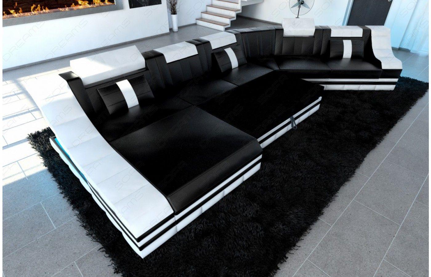 leder wohnlandschaft turino cl mit led in schwarz wei exklusiv bei sofa dreams leder. Black Bedroom Furniture Sets. Home Design Ideas