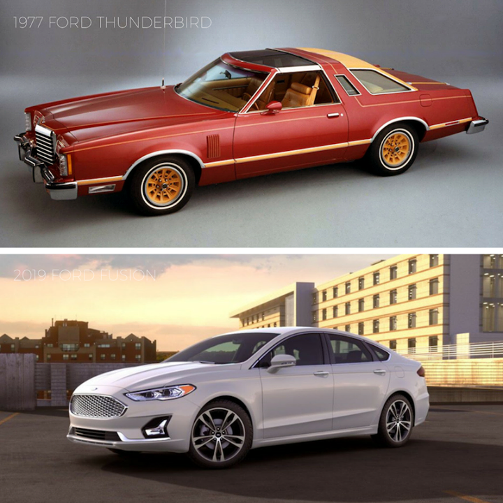 Tbt 1977 Ford Thunderbird Vs 2019 Ford Fusion Throwbacks Ford