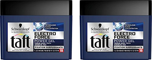 Taft Electro Force Cube Power Gel 250 ml – Lot de 2: Powergel: tenue high Tech jusqu'à 72h, fixation surpuissante Le plus puissant des gels…