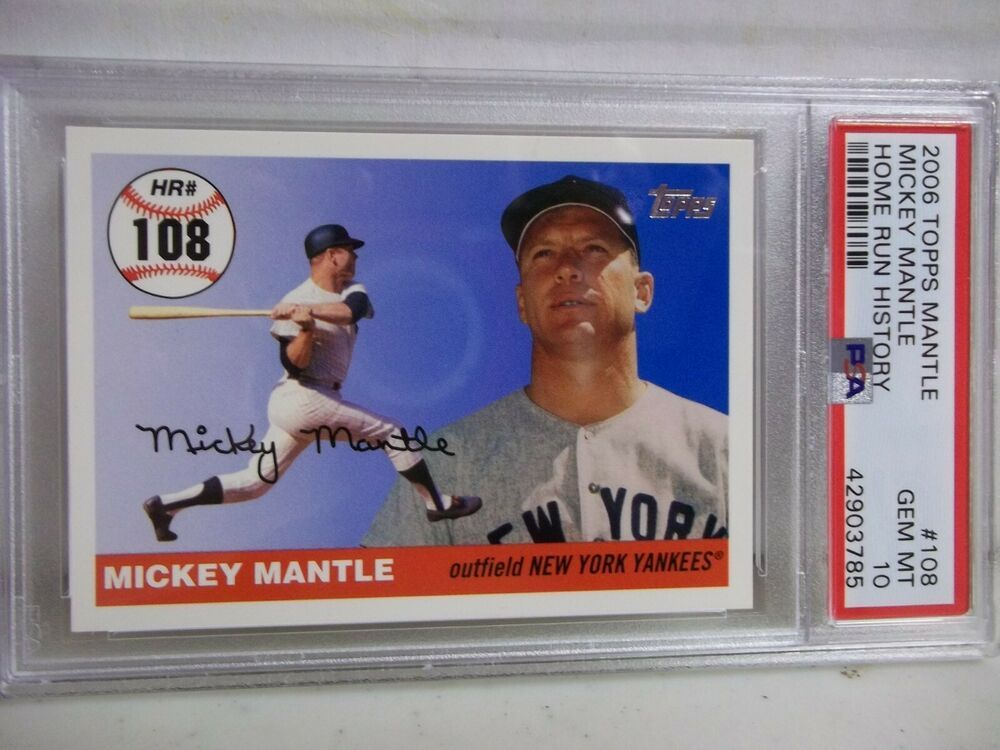 2006 Topps Mickey Mantle Psa Gem Mint 10 Baseball Card 108 Mlb Hof Newyorkyankees Baseball Cards Mickey Mantle Mantle