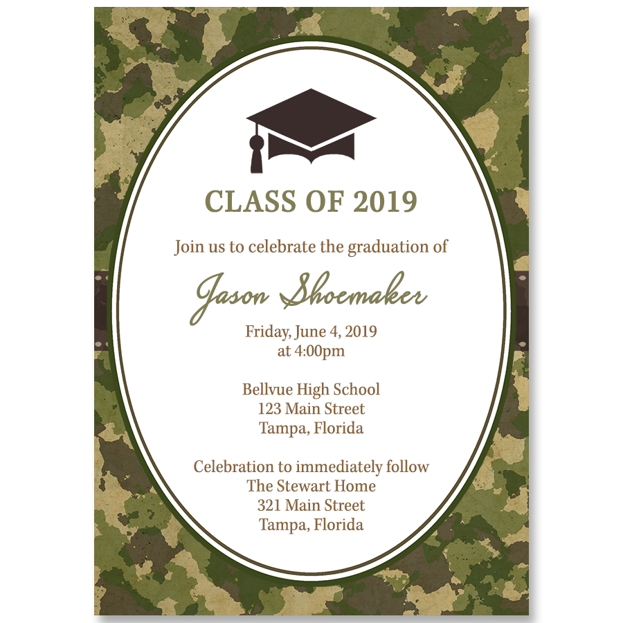 Class of Camo Graduation Invitation - Find camouflage themed ...