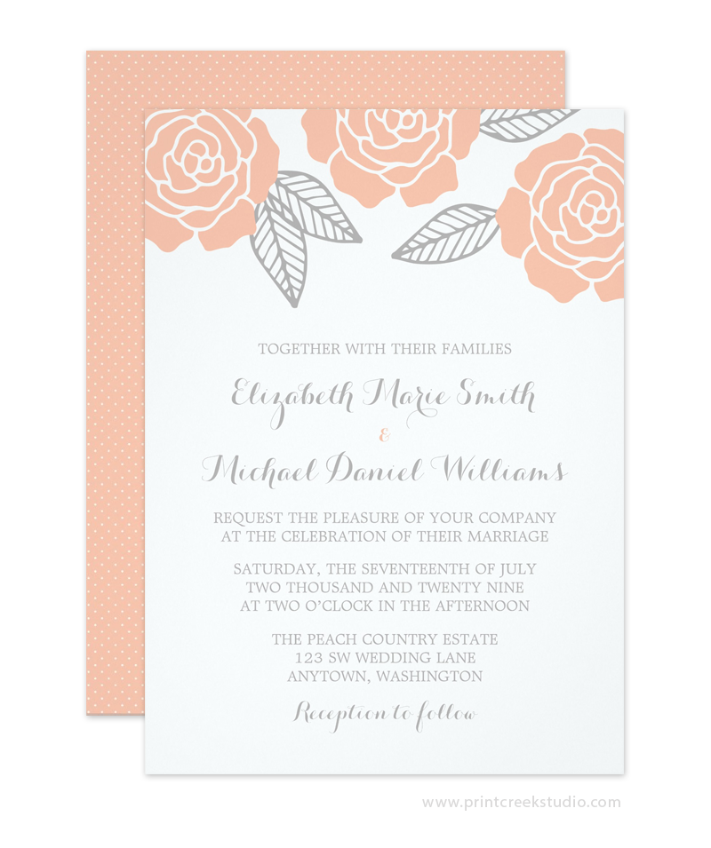 Pin By Anisha On Wedding Invites Simple In 2019: Modern Peach And Gray Rose Wedding Invitation