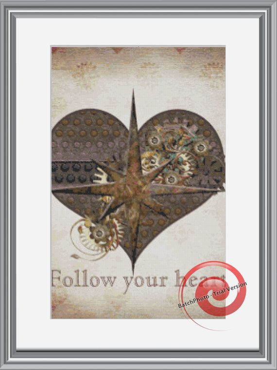 Steampunk Heart Cross Stitch Printable Needlework Pattern - DIY Crossstitch Chart, Relaxing Hobby, Instant Download PDF Design