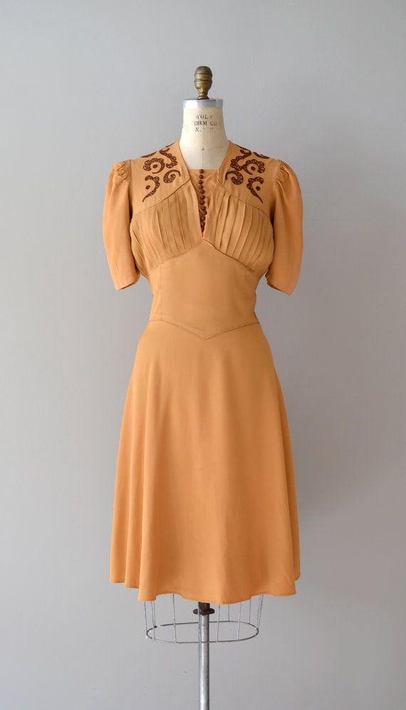 1930s Dress / Rayon 30s Dress / Butterscotch Ganache Dress