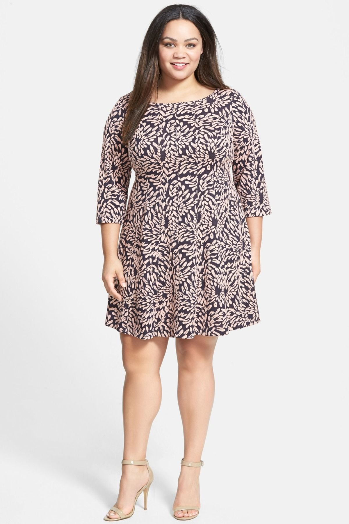 Leaf Jacquard Dress (Plus Size) by Taylor on @nordstrom_rack