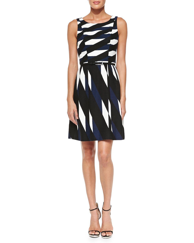 Trina Turk Medina Printed Belted Twill Dress