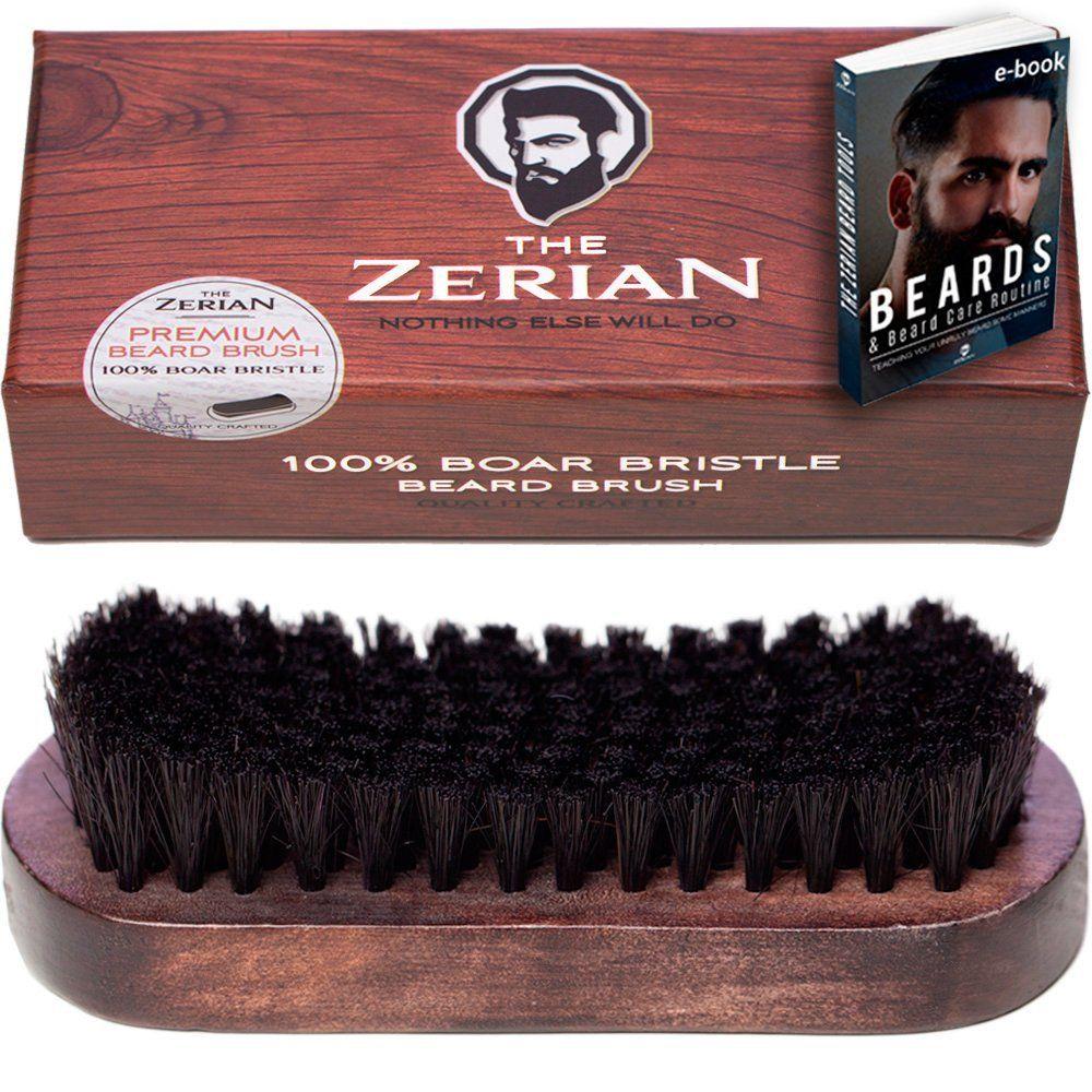 The Zerian Boar Bristle Beard Brush for Men Bundle with