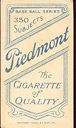 1909-11 The American Tobacco Company T206 White Border #283 Ed Lennox Back