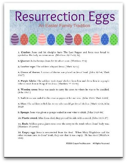 This is an image of Old Fashioned Resurrection Egg Story Printable