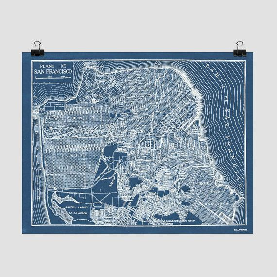 San Francisco Map Blueprint Style from an Antique Map on Etsy