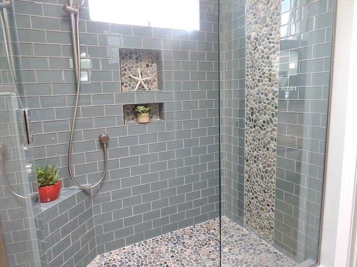 Bathroom Shower Tiles Ideas In 2020 Pebble Tile Shower Floor Glass Tile Shower Farmhouse Shower