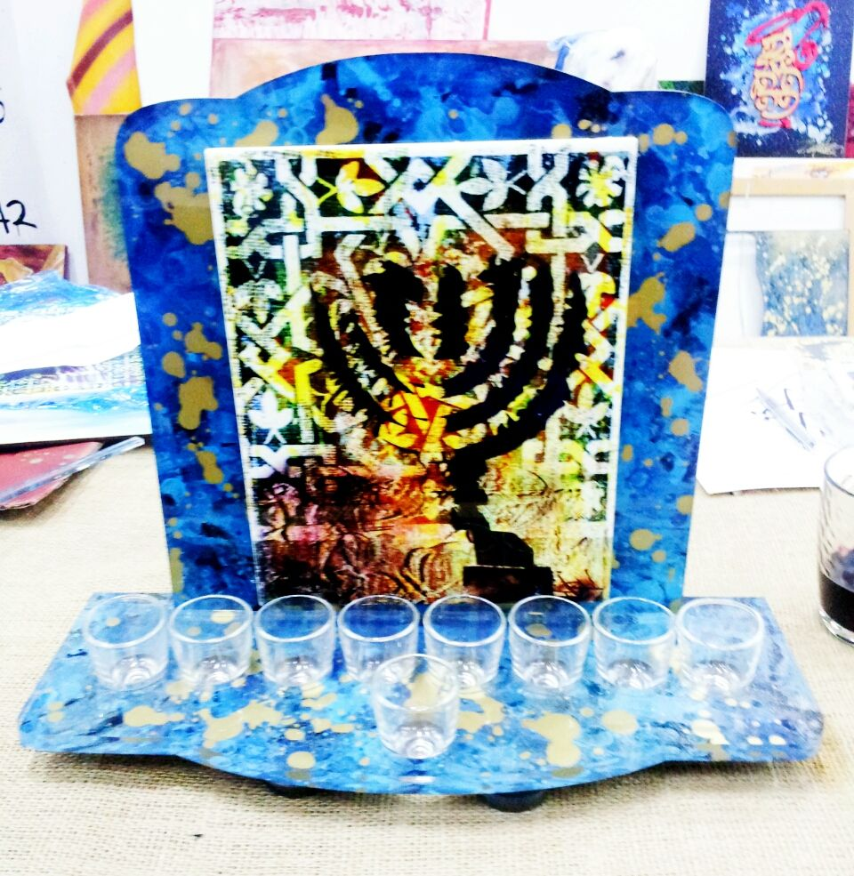 Hanoukkia (2014) © Dan Groover - Judaica - Plexiglass Hand Painted and Ceramic Original & Unique Made HandedPiece.