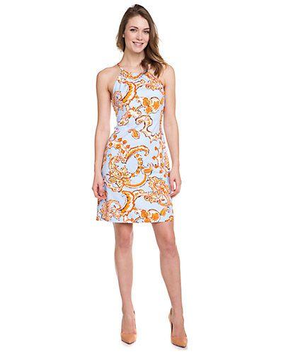 "J. Mclaughlin ""Maria"" White, Orange & Blue Paisley Print Halter Neck Dress"