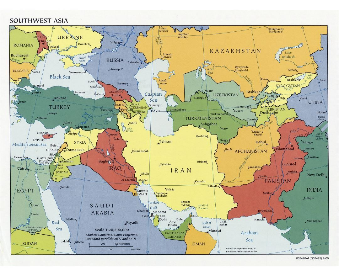 Large detailed political map of Southwest Asia with capitals ...