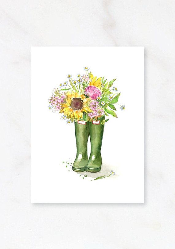 Welly Boots Hunter Boots Flower Gumboots Art Wellington Boots
