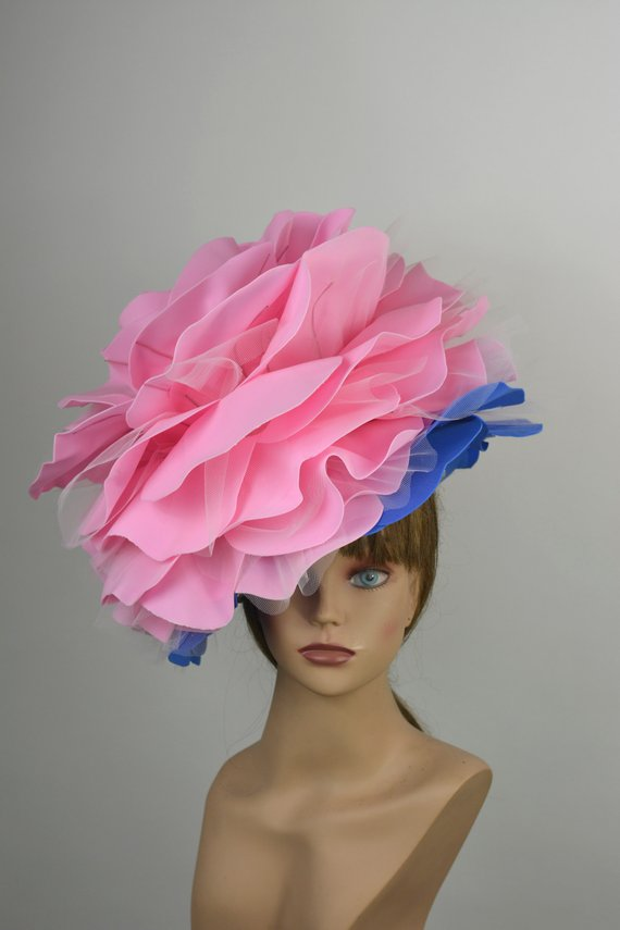 342026ee7b429 Pink Rose Hat Wedding Hat Kentucky Derby Hat Church Hat Pink Coctail Hat  Couture Fascinator Bridal