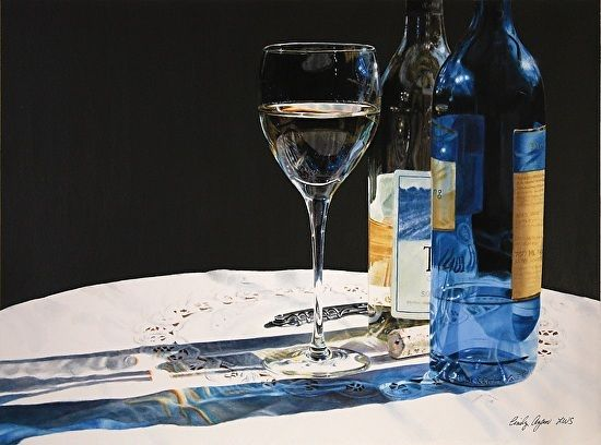 Still Life with Riesling by Cindy Agan Watercolor ~ 18.25 x 24.75