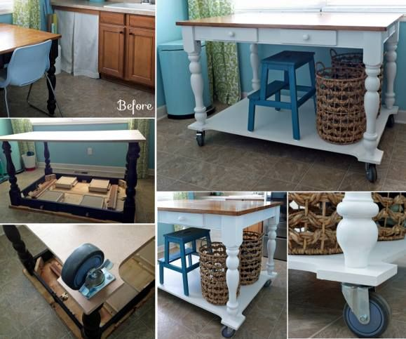 Kitchen Island Table Diy rolling table island | rolling island, laundry and rolling table