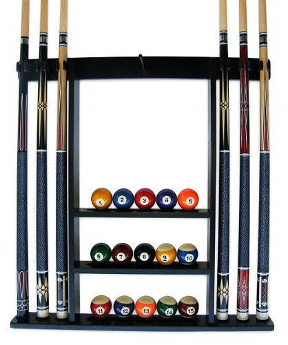 Billiard Cue Ball Storage 6 Pool Stick Rack Wall Mount Stand Wood Snooker Game Billiards Pool Cue Rack Pool Ball