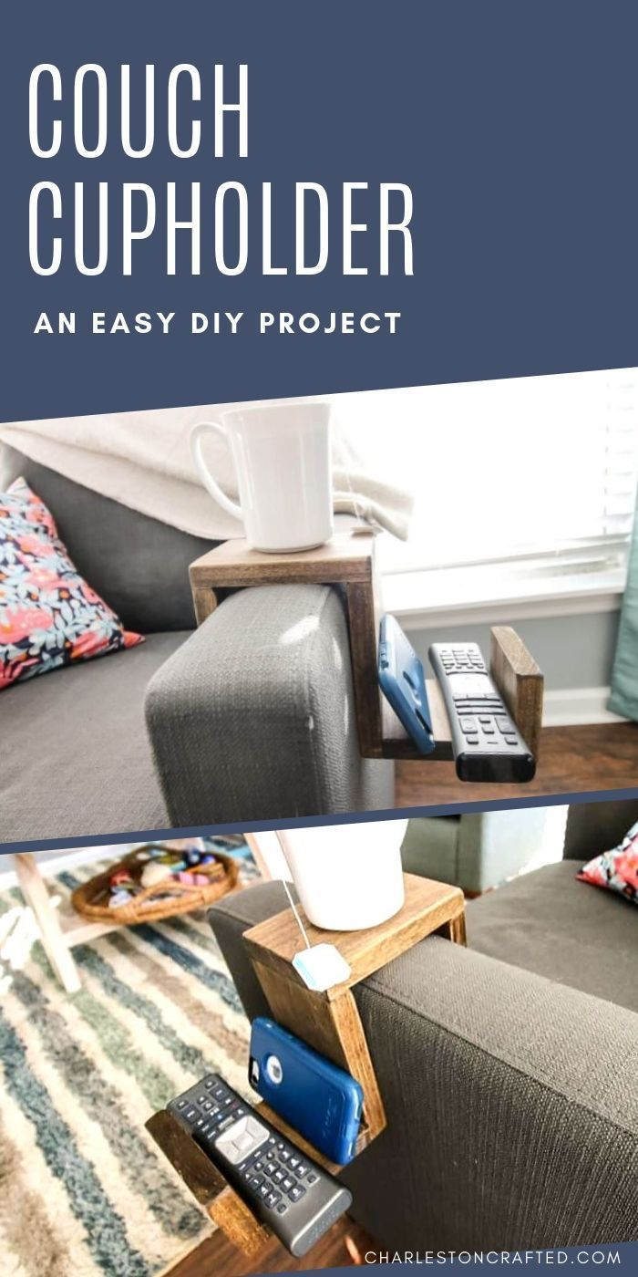 Arm Cup Holder need a place to set your drink This DIY wooden cup holder is easy to build using a kreg jig and slides right onto your sofas arm Click through for the full...