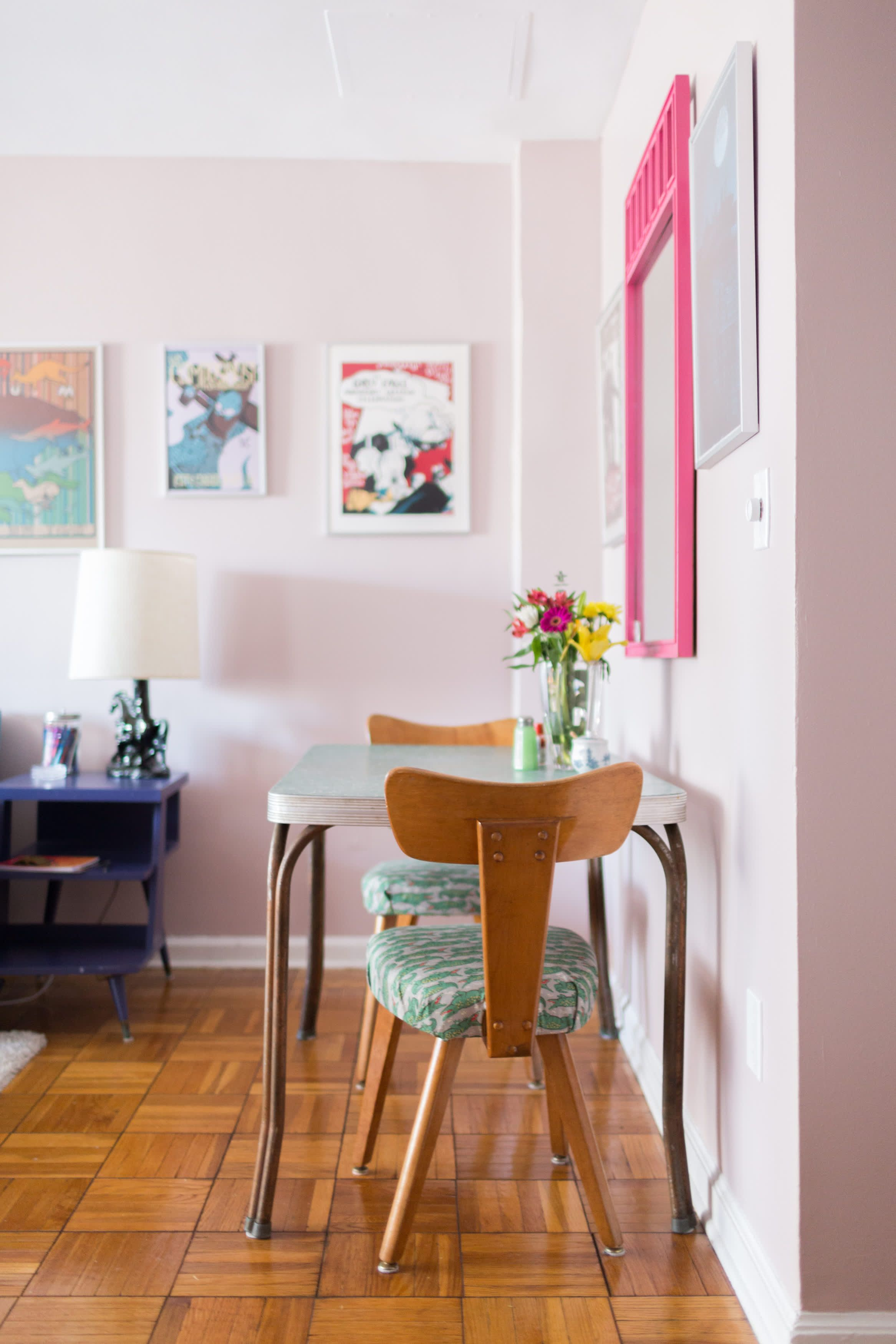 A Small Studio Has A Pink Kitchen With A Glitter Floor Pink Kitchen Glitter Floor Apartment Therapy House Tours