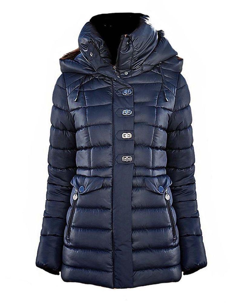 Heine Damen Steppacke Kapuze blau Neu Gr.38 | Kleidung