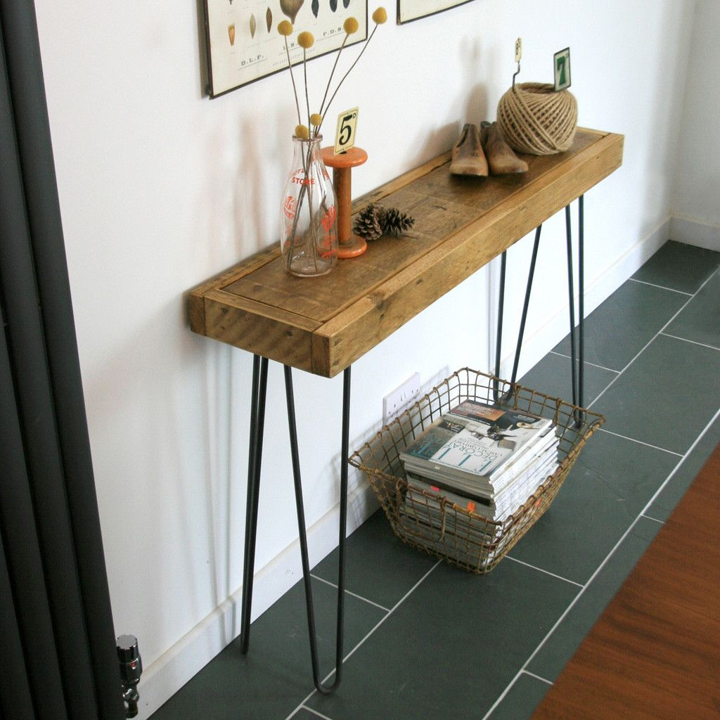 Foyer Table Hairpin Legs : Bespoke order rustic hairpin leg console table or