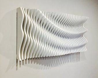 Attirant Wood Wall Art, Modern Art, Parametric Wave, 3D Art, Wall Sculpture,