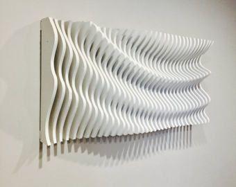 Wood Wall Art, Modern Art, Parametric Wave, 3D Art, Wall Sculpture,