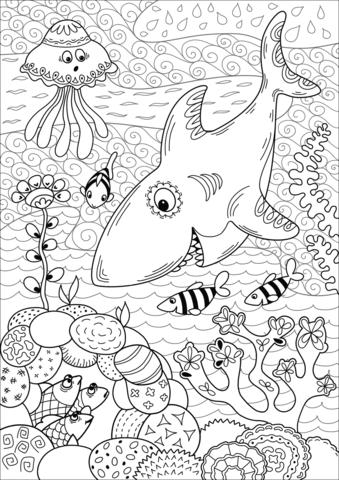 Shark Hunting in Coral Reef Dibujo para colorear | PARA PINTAR ...