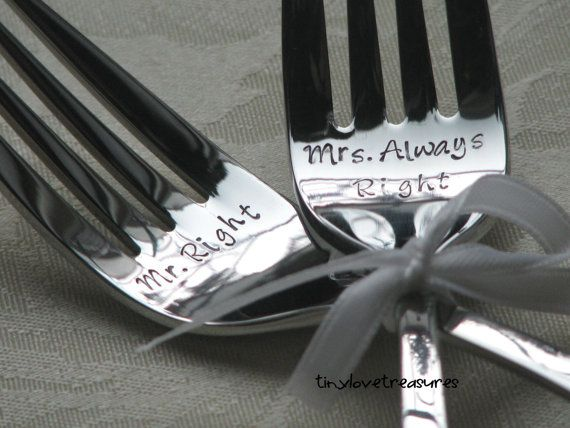 Mr Right Mrs Always Right  Personalized by tinylovetreasures, $25.00    I want these! :) with our wedding date on them!