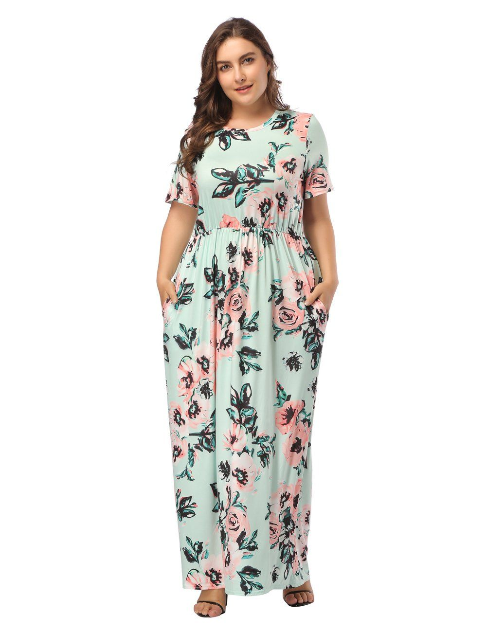 cd1d8b505d OPSLEA Women's Floral Print Loose Casual Long Dress Round Neck Short  Sleeves Maxi Dress with Pocket