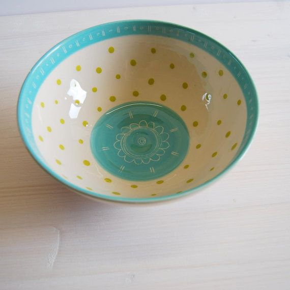 Blue And Green Polka Dot Bowl Serving Bowl Ceramic Bowl Pottery