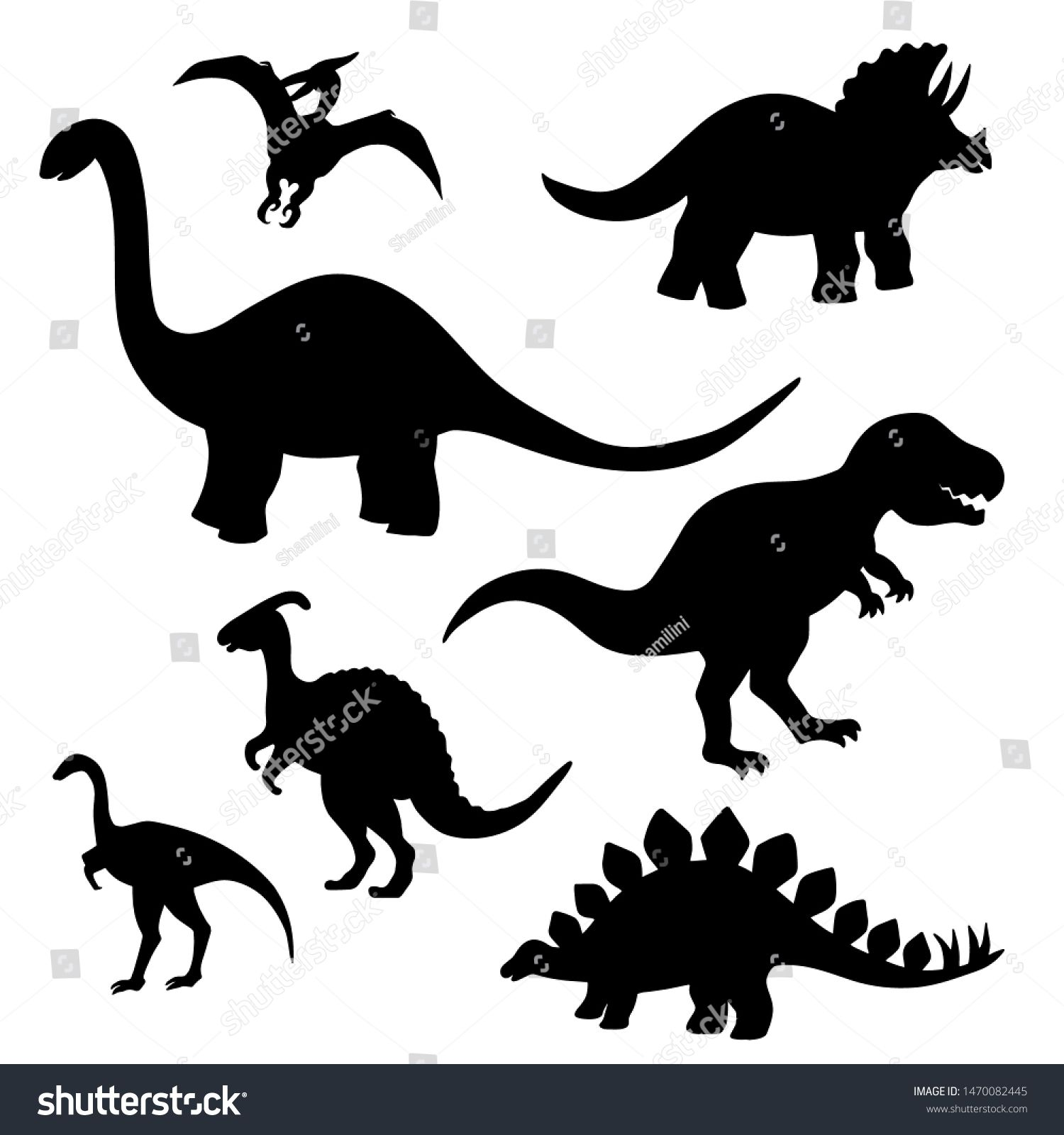 Set Of Black Silhouettes Of Dinosaurs On A White Background Stegosaurus Triceratops Tyrannosaurus Br Dinosaur Silhouette Animal Silhouette Black Silhouette