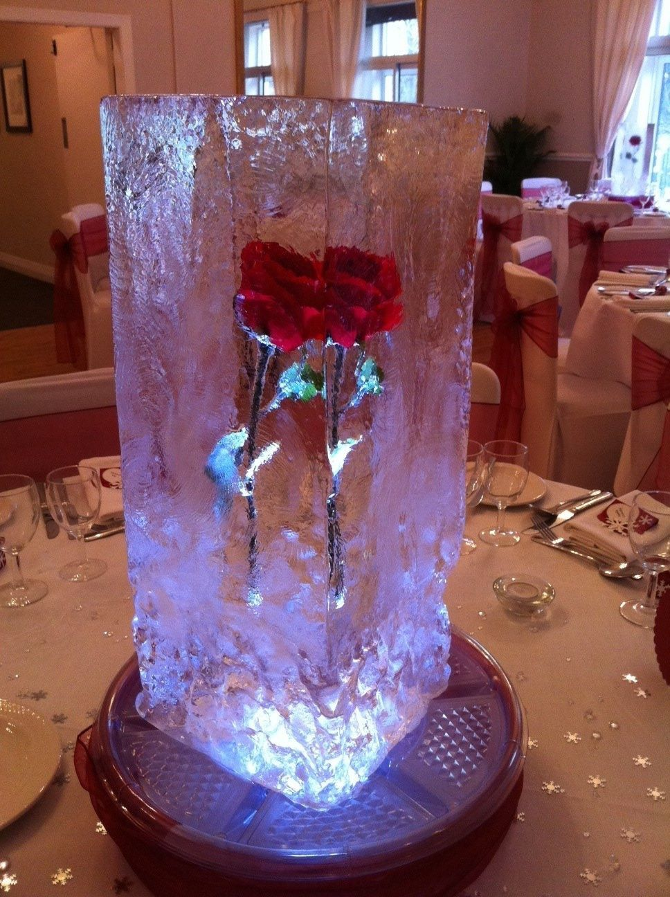 Frozen rose centre piece beauty and the beast