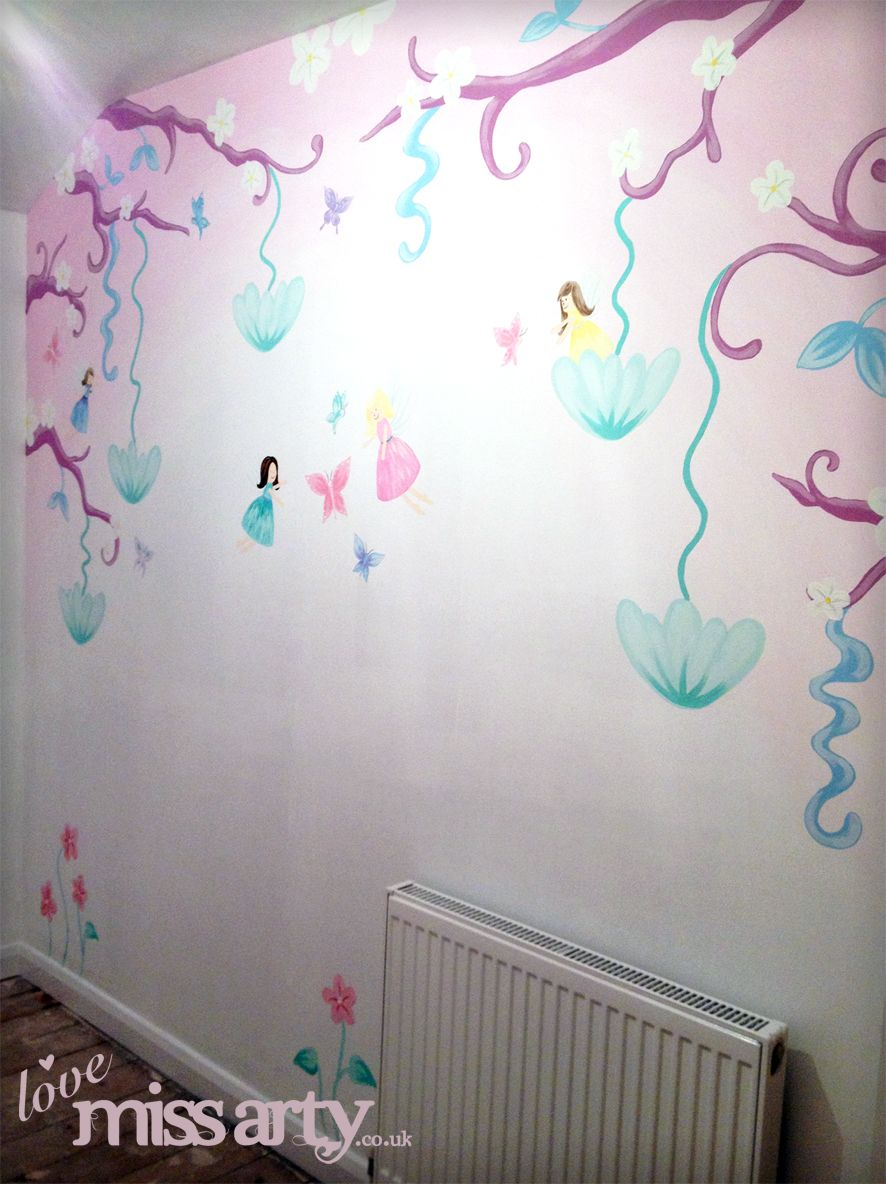 Fairy and butterfly wall mural designed and hand painted for Fairy wall mural