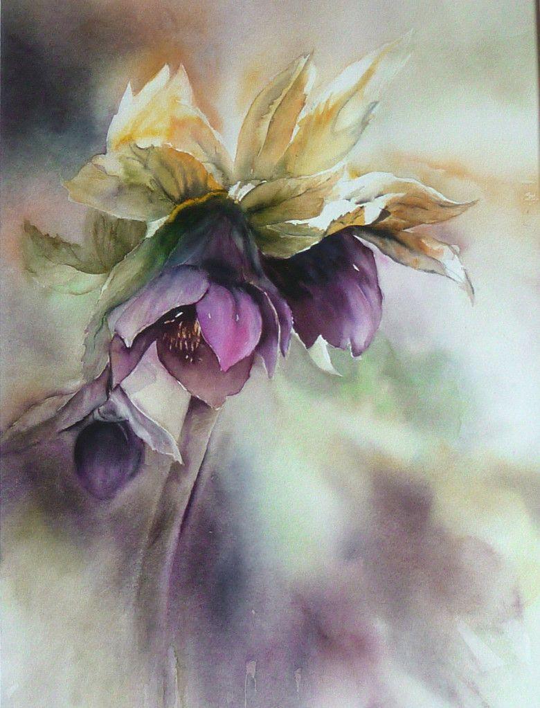 Watercolor Arts Peinture Fleurs Aquarelle Fleurs Peintures
