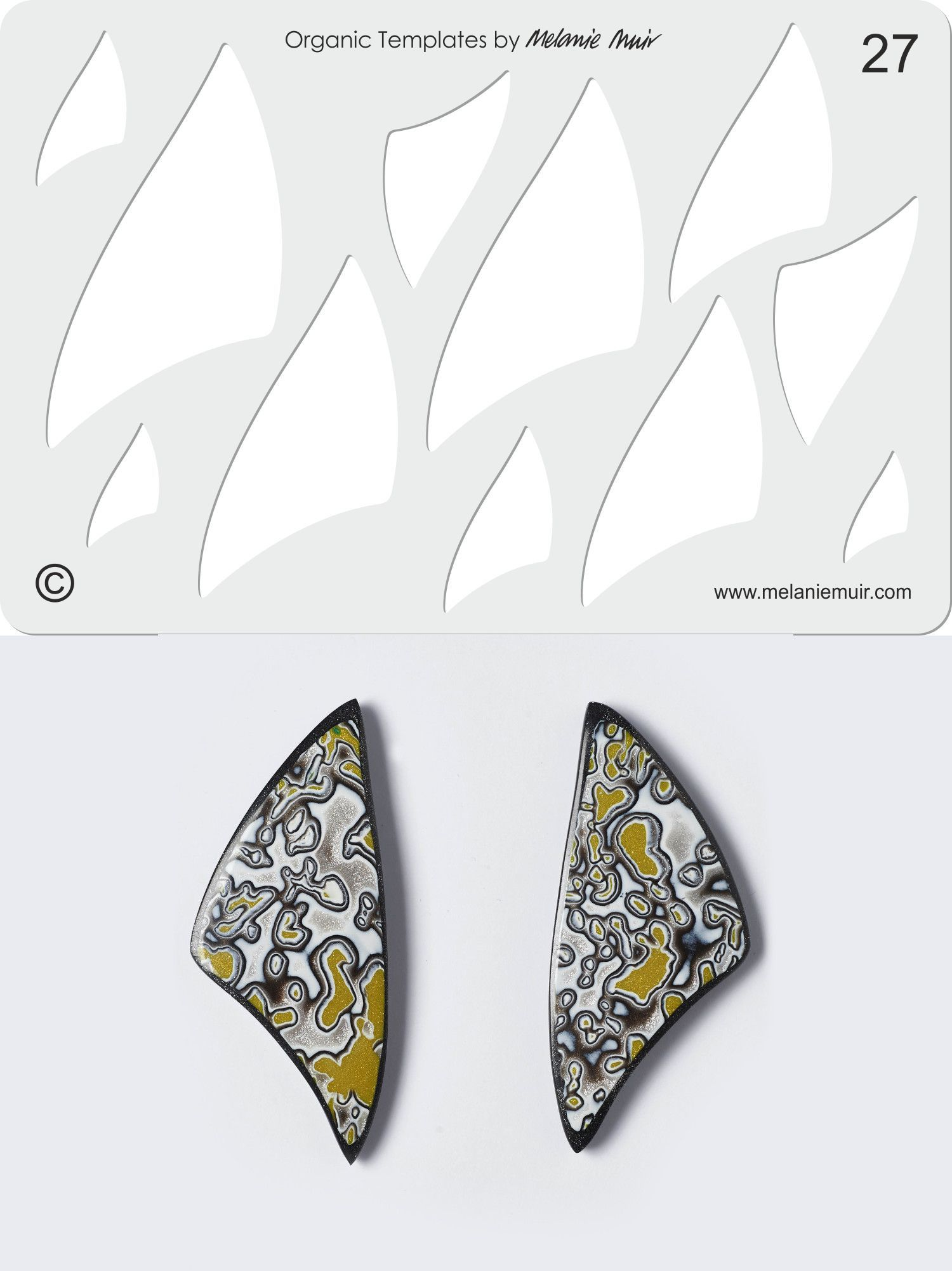 Organic Template No. 27 with Grey Goose Wing Earrings http