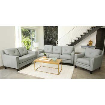Atmore 3 Piece Top Grain Leather Set   Sofa, Loveseat, Chair