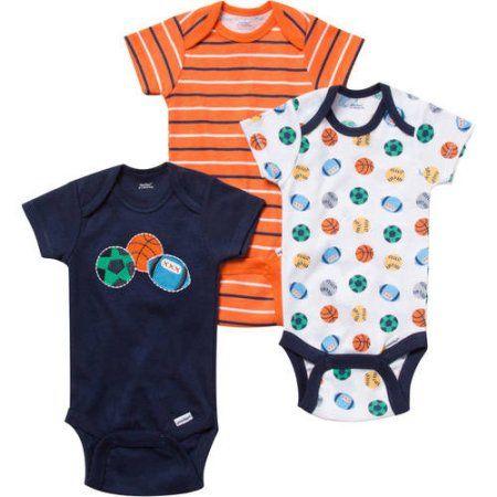 Gerber Newborn Baby Boy Bodysuits Variety, 3-Pack, Blue