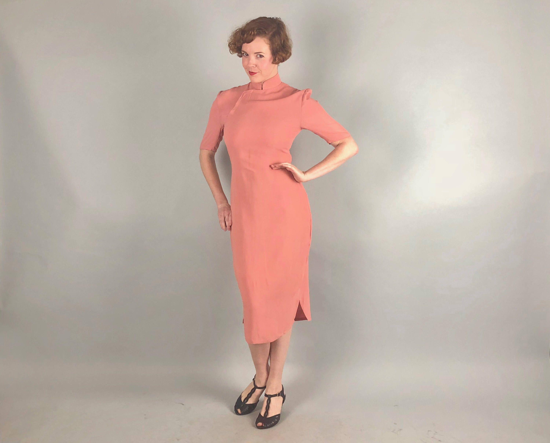 Vintage 1940s Dress   40s Salmon Pink Rayon Jersey Cheongsam Qipoa ...